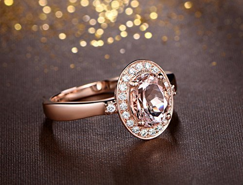 Solid 18k rose gold promise ring,0.17ct SI-H Diamond engagement ring,1.41ct Oval Natural VS pink Morganite,prong set ()