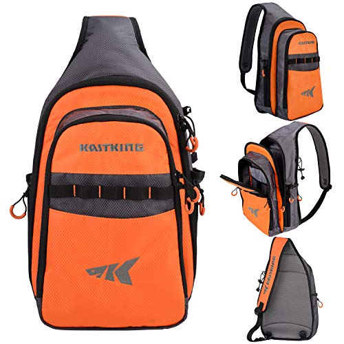 KastKing Pond Hopper Fishing Sling Tackle Storage Bag - Lightweight Sling Fishing Backpack - Sling Tool Bag for Fishing Hiking Hunting Camping, Without Box,17.7X 12.6X 6 Inches,Orange