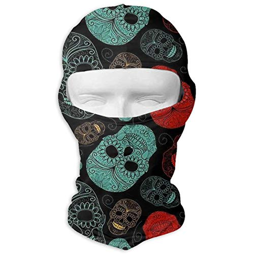 Wind-Resistant Balaclava Hood, Sugar Skull Cover Face Mask for Bike Hiking White]()