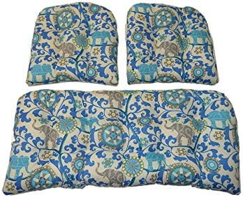 Resort Spa Home Decor 3 Piece Wicker Cushion Set – Indoor Outdoor Sapphire Blue, Turquoise, Green, Gray Bohemian Elephant Menagerie Sapphire Wicker Loveseat Settee 2 Matching Chair Cushions