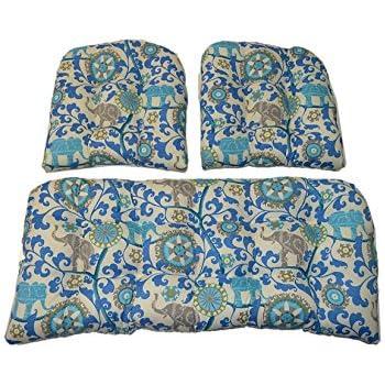 Amazon Com 3 Piece Wicker Cushion Set Indoor Outdoor