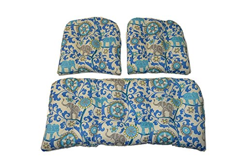 3 Piece Wicker Cushion Set - Indoor / Outdoor Sapphire Blue, Turquoise, Green, Gray Bohemian Elephant Wicker Loveseat Settee & 2 Matching Chair Cushions by Resort Spa Home Decor