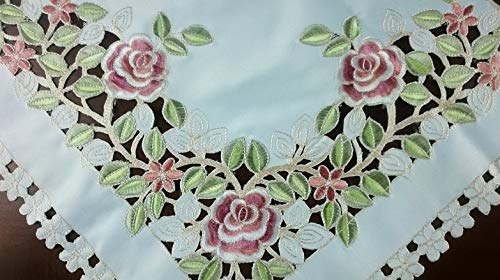 (Mikash Gorgeous Embroidered Rose Cutwork 36 Square Tablecloth Topper | Model TBLCLTH - 505)