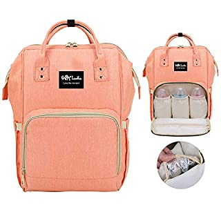 Diaper Bag Backpack, Multi-Functional Nappy Bag Organizer for Baby Care with Insulated Pockets, Water Resistant, Grab-and-Go Travel fits Stroll Mummy Bag for Boy/Girl(Coral)