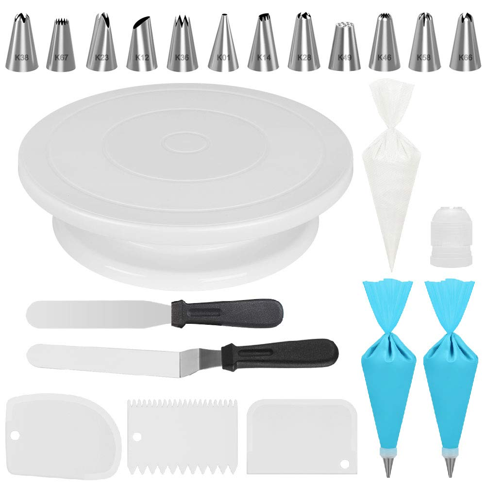 Kootek Cake Decorating Kits Supplies with Cake Turntable, 12 Numbered Cake Decorating Tips, 2 Icing Spatula, 3 Icing Smoother, 2 Silicone Piping Bag, 50 Disposable Pastry Bags and 1 Coupler by Kootek