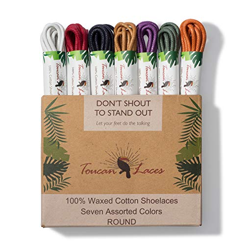 Toucan Laces Dress Shoe Laces for Men in [7 Pairs] of Round Waxed Shoelaces - 100% Cotton - Green Shoe Laces, Tan Shoe Laces, White Shoe Laces, Blue Shoe Laces, Red Shoe Laces, Orange, Purple Laces