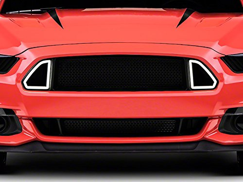 (V8 GOD Front Hood Upper Grille w/White DRL LED Accent Vent Lights for 2015 2016 2017 Ford Mustang)