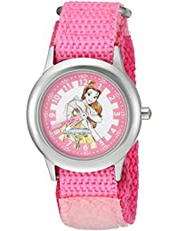 Girls Princess Belle Stainless Steel Analog-Quartz Watch with Nylon Strap, Pink, 16 (Model: WDS000188)