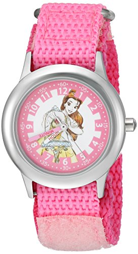 Disney Girl's 'Princess Belle' Quartz Stainless Steel and Nylon Casual Watch, Color:Pink (Model: WDS000188)