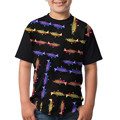 Rainbow-Golden-Brook-Trout Boy Youth 3D Printing Casual Round Neck T Shirts Funny Short Sleeve T-Shirts