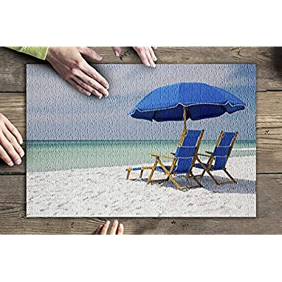 Seaside, Florida - Blue Chairs on The Beach 9025131 (Premium 500 Piece Jigsaw Puzzle for Adults, 13x19, Made in USA!): Toys & Games