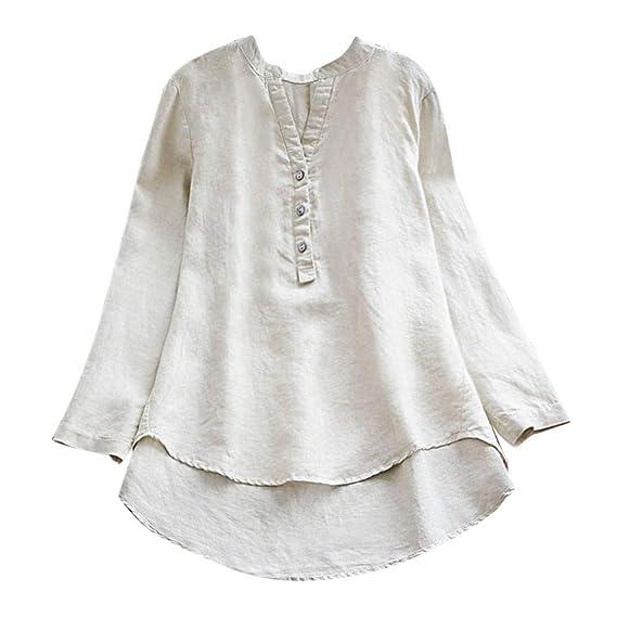 ALIKEEY Women S Solid Color De Algodón con Cuello En V Manga Larga Botón Tops Mujer Retro Casual Loose Button Gran Tamaño Mini Blusa Camisa: Amazon.es: ...