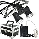 Careshine Metal Frame Dental Surgical Loupes 3.5X 420mm with LED Head Light, Aluminum Box