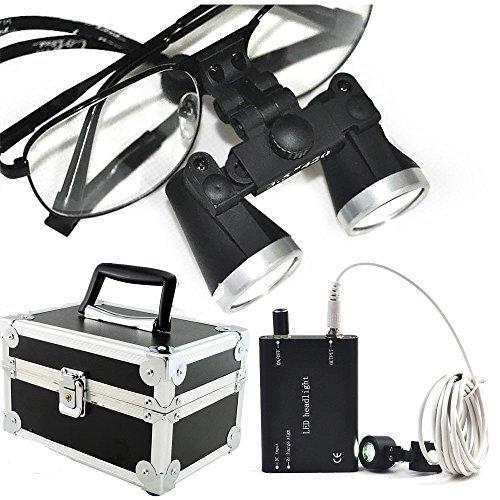 Careshine Metal Frame Dental Surgical Loupes 3.5X 420mm with LED Head Light, Aluminum Box