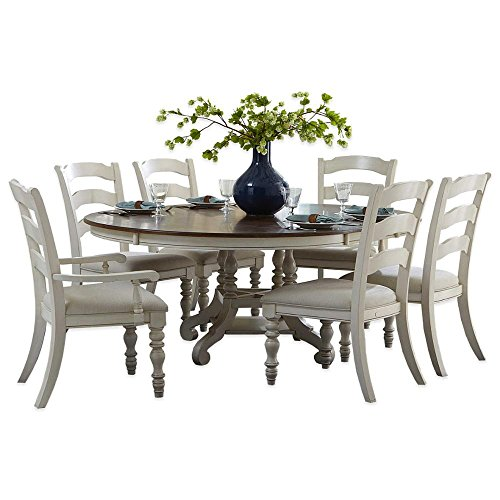 7-Piece Oval Dining Set with Ladder Back Chairs in Old White