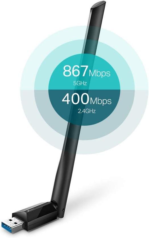 [Nuevo] TP-Link Archer T3U Plus AC1300 - Adaptador Wi-Fi Dual Band USB, Doble Banda con Antena Externa y Señal Potente, Turbo 256QAM, Ideal para Teletrabajo