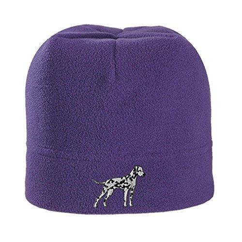 Embroidery Dalmatian (Dalmatian Embroidery Design Stretch Fleece Beanie Purple)