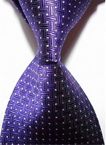 Allbebe Men's Classic Wedding Jacquard Woven Silk Tie Microfiber Formal Necktie