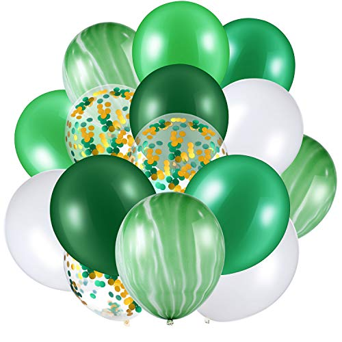 60 Pieces 12 Inch Agate Latex Balloons Confetti Balloons Colorful Balloons for Jungle Baby Shower Wedding Office Birthday Party Supplies (Green, White)