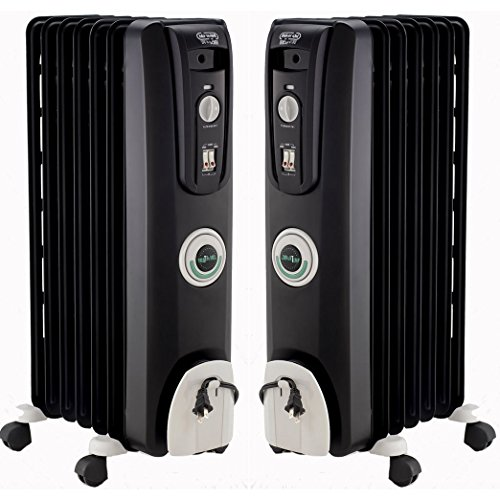 DeLonghi 2 Pack Safeheat 1500W ComforTemp Portable Oil-Filled Radiator Heater Kit - EW7707CB