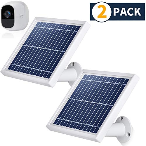 Sale!! iTODOS 2 Pack Solar Panel Compatible with Arlo Pro 2, 11.8Ft Outdoor Power Charging Cable and Adjustable Mount ,Not for Arlo and Arlo Pro(Silver)