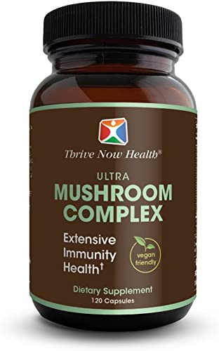 Thrive Now Health Ultra Mushroom Complex 120 Capsules – 14 Blend with Reishi, Coryceps, Chaga, Mesima, Lion s Maine, Turkey Tail, Maitake – Vegan Friendly Total Health Support