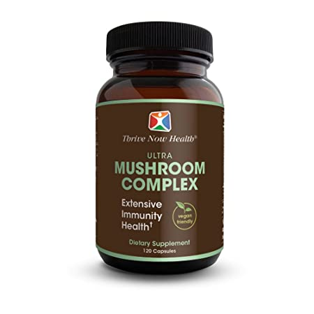 Thrive Now Health Ultra Mushroom Complex 120 Capsules Reishi, Cordyceps, Chaga, Lion s Mane, Shiitake, Oyster Immune System Support Vegan Friendly Supplement