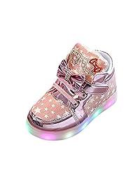 Tenworld Toddler/Little Kids Girls LED Light Up Shoes High Top Flashing Sneakers