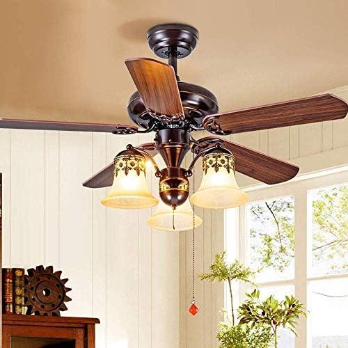Pliuyb Ceiling fan Indoor lighting New American Antique Ceiling Fan Light Living Room Bedroom Study Ceiling Lamp Wooden Fan Blade High Quiet Motor 5 Blades Diameter 108 Cm Add a charming glow