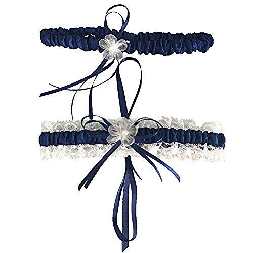 CQDY Navy Blue Lace Wedding Bridal Garter -