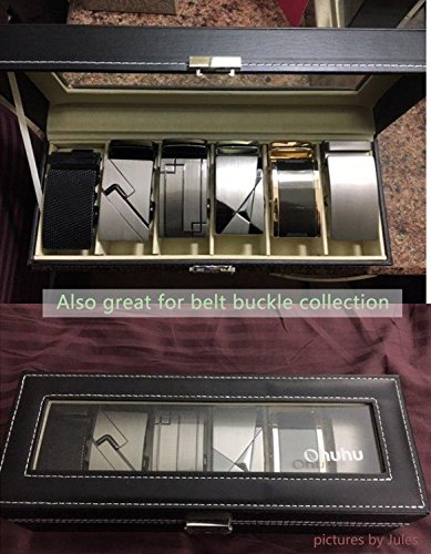 Ohuhu Watch Organizer, 6 Slot Watch Box PU Leather Watches Storage Case Lock Key by Ohuhu (Image #4)