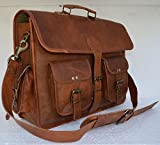 Leather briefcase laptop bag messenger satchel 16