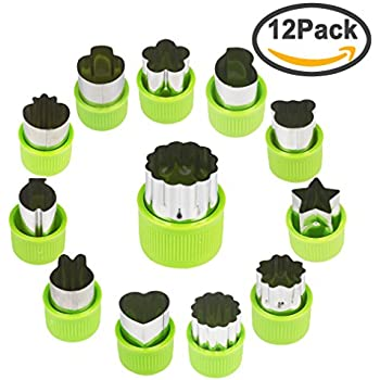 FASOTY Vegetable Cutter Shapes Set (12 Piece) – Mini Cookie Cutters, Vegetable Shape Cutters Flower Star Cartoon Animals Fruit Mold Heart Stamps Decorating Tools for Food