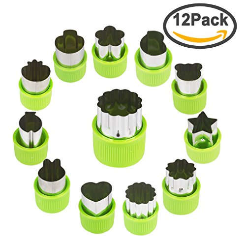 FASOTY Vegetable Cutter Shapes Set (12 Piece) – Mini Cookie Cutters, Vegetable Shape Cutters Flower Star Cartoon Animals Fruit Mold Heart Stamps Decorating Tools for (Cute Halloween Cookies For Kids)