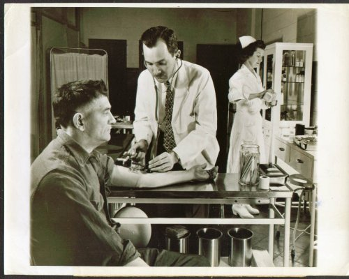 (Fisher Body-Ternstedt plant doctor checks BP photo 1947 )