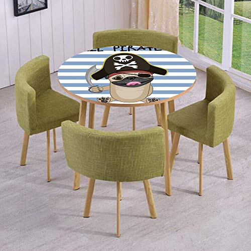 iPrint Round Table/Wall/Floor Decal Strikers/Removable/Buccaneer Dog in Cartoon Style Costume Holding Sword Lil Pirate Striped Backdrop/for Living Room/Kitchens/Office Decoration ()