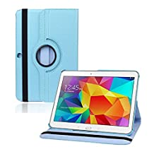 Samsung Galaxy Tab 4 10.1 CASE, Kingsource PU Leather Case for Samsung Galaxy Tab 4 10.1 (SM-T530NU) PU Leather 360 Rotating Stand Cover with Screen Protector+ Stylus Color Sky Blue