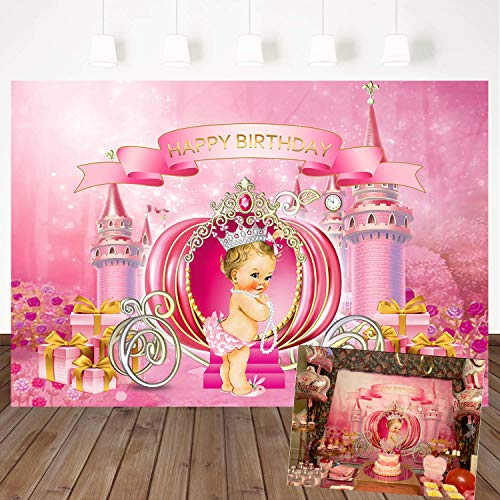 Mehofoto Little Princess Birthday Backdrop Dream Castle Pumpkin Carriage Photography Background 7x5ft Pink Girl Birthday Party Banner Photoshoot Vinyl Photo Background ()