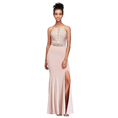 91eb9e8b6b7 Beaded Waist Lace and Jersey Halter Sheath Gown Style 3329HN4B at ...