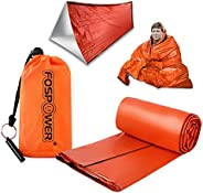 FosPower Emergency Sleeping Bag Liner Durable Lightweight Survival Blanket with Stuff Sack and Survival Whistl