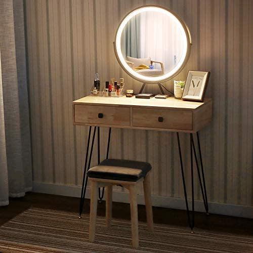 Vanity Makeup Table Set with Touch Screen Adjustable Lighted Mirror Iron Frame Cushioned Stool 3 Lighting Modes 2 Drawers Angle-Adjustable Mirror with Free Make-Up Organizer Natural Wood