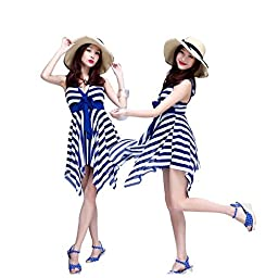 BIKMAN Navy Blue White Stripes Swim Dress Swimwear One Piece Swimsuit (12-14)