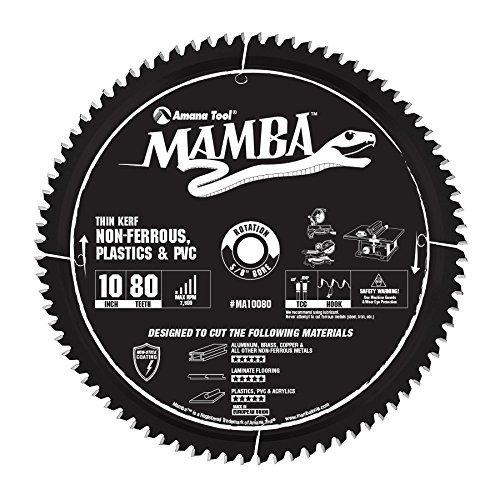 (Amana Tool MA10080 Carbide Tipped Thin Kerf Laminate Flooring, Non-Ferrous, Plastic & PVC Cutting Contractor Series Mamba 10 Inch D x 80T, TCG, -6 Deg, 5/8 Bore Circular Saw Blade )