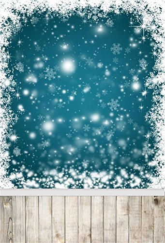 Celebration 7' Plates (AOFOTO 5x7ft Snowflake Backdrop White Christmas Photography Background Abstract Falling Snow with Vintage Wooden Plank Kid Baby Girl Artistic Portrait Photoshoot Studio Props Video Drape Wallpaper)