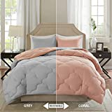Comfort Spaces – Vixie Reversible Goose Down Alternative Comforter Mini Set - 2 Piece – Coral and Grey – Stitched Geometrical Pattern – Twin/Twin XL Size, Includes 1 Comforter, 1 Sham
