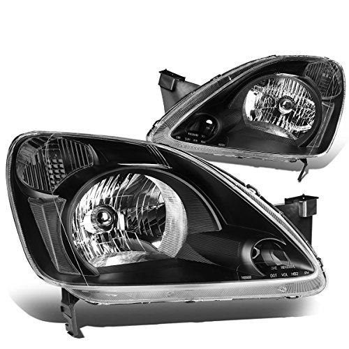 DNA Motoring HL-OH-041-BK-CL1 Black Clear Headlights Replacement For 02-04 CR-V