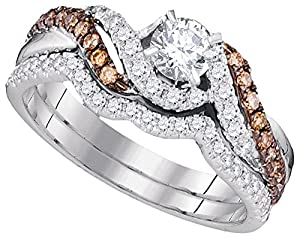 Size - 6 - Solid 14k White Gold Round White And Chocolate Brown Diamond Bridal Solitaire Engagement Ring with Curved Matching Wedding Band (.88 cttw)