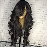 Lace Front Wigs Brazilian Virgin Human Hair Loose Weave Glueless Human Hair Wigs With Baby Hair Natural Black Color for Women (24'', lace frontal wig)