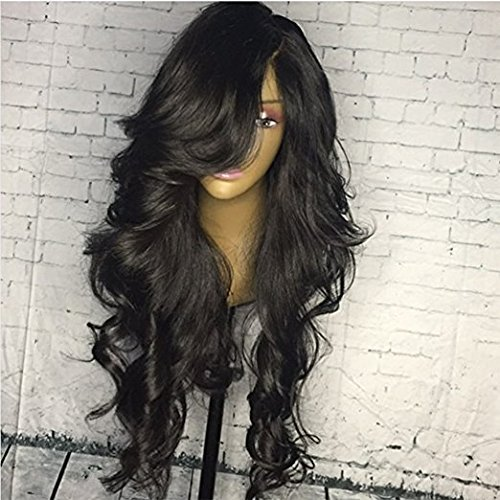 Lace Front Wigs Brazilian Virgin Human Hair Loose Weave Glueless Human Hair Wigs With Baby Hair Natural Black Color for Women (16'', lace frontal wig) by Fantasty Hair