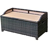 Storage Bench Container Box 50 Gallon Chest Organizer Seat Rattan Wicker